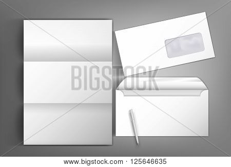 Collection of corporate identity presentation templates mock up with envelope and pen blank letterhead. Ready for your design on gray background.