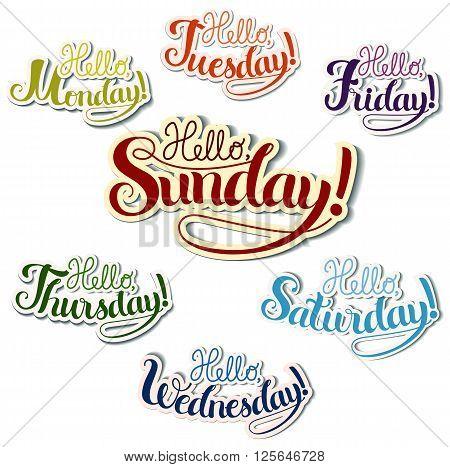 Set of positive lettering week days, hand drawn illustration