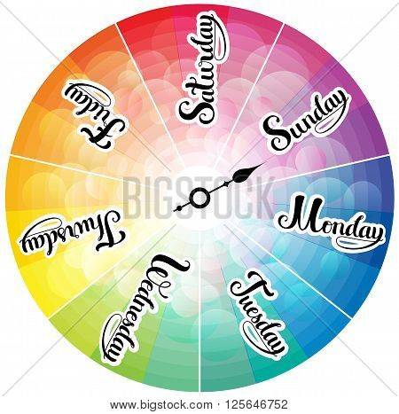 Week days rainbow colored clock, abstract  illustration