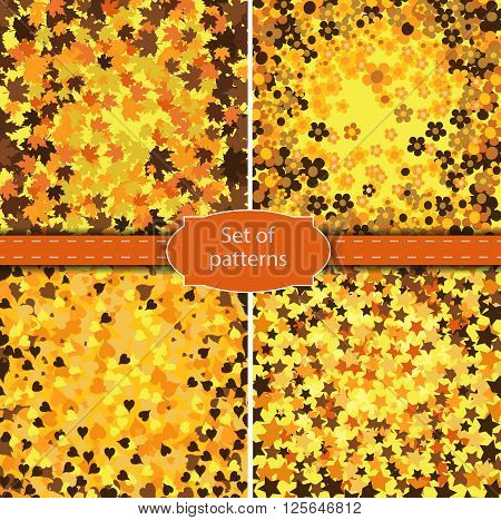 Set of four backgrounds in golden colored