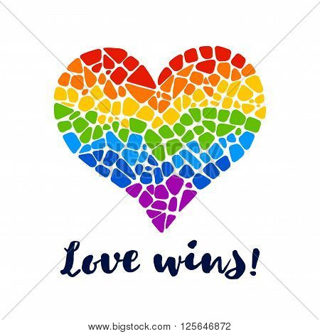Mosaic rainbow heart on white background. Rainbow heart vector icon. Isolated rainbow heart. Rainbow heart  LGBT logo. LGBT symbol. Gay culture sign. Gay pride design element. Isolated mosaic rainbow heart.