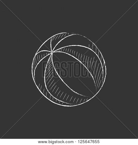 Beach ball. Drawn in chalk icon.