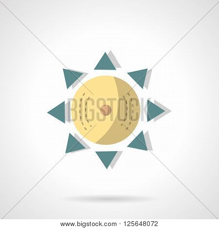Natural light symbol. Geometrical yellow sun with blue triangle beams. Solar sign. Flat color style vector icon. Web design element for site, mobile and business.