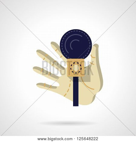 A hand holds dark blue microphone. Media entertainment, karaoke, show. Party organization. Journalist interview. Flat color style vector icon. Web design element for site, mobile and business.
