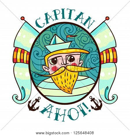Seaman Illustration with a lighthouse in the style of an old tattoo. Lovable Captain Ahoi salty seas with a beard and mustache paper boats and flags. Printing on T-shirt bag poster