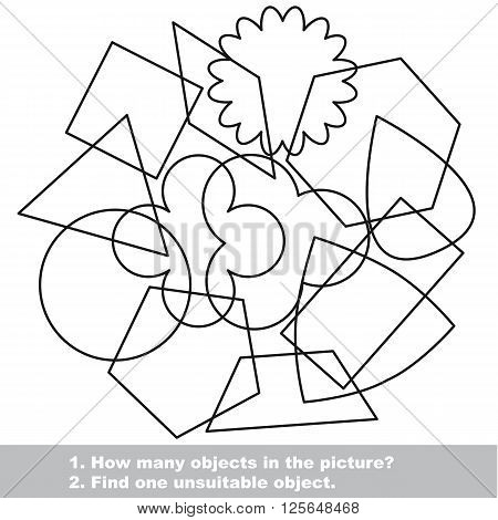 Simple geometric shapes mishmash set in vector outlined to be colored.  Find all hidden objects on the picture. Visual game for children.