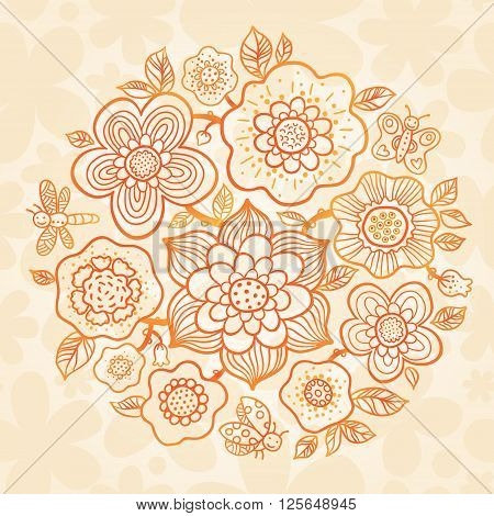Outline Summer Bouquet On Floral Seamless Texture.