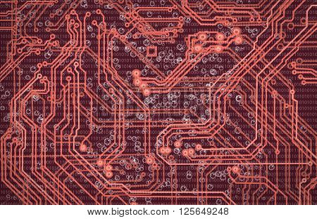 abstract image of microcircuit against a red background close-up