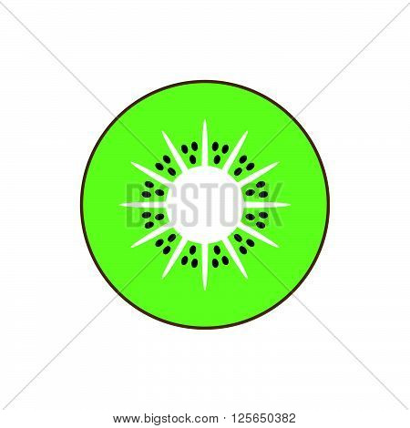 Kiwi isolated vector icon. Kiwi fruit isolated. Modern vector illustration. Icon flat lines. Fruit a sweet dessert. The emblem, symbol, icon, isolated pattern menu.