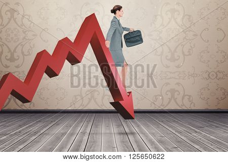 Businesswoman walking with briefcase over white background against room with wallpaper