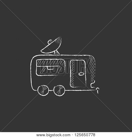 Caravan with satellite dish. Drawn in chalk icon.