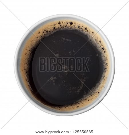 paper cup of coffee with foam top view. Disposable to go coffee cup with americano isolated on white