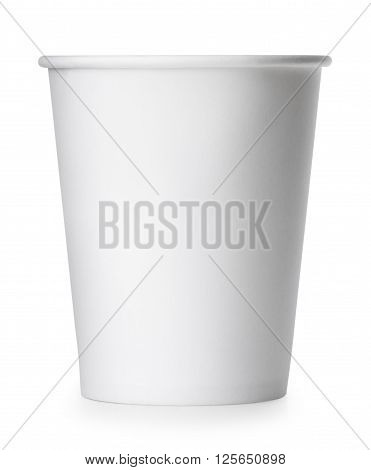 single disposable empty white paper cup isolated on white background with clipping path. Package for drinks