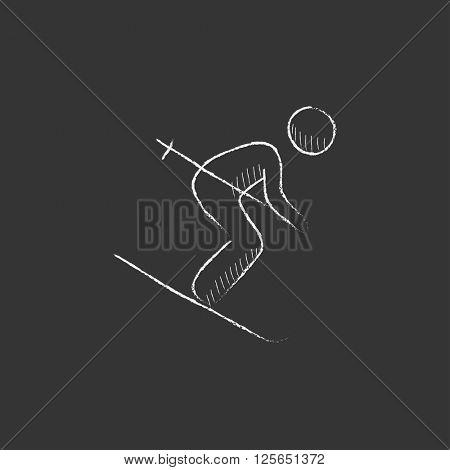 Downhill skiing. Drawn in chalk icon.