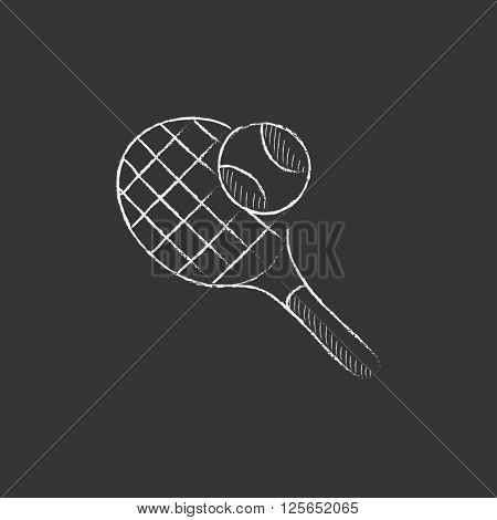 Tennis racket and ball. Drawn in chalk icon.