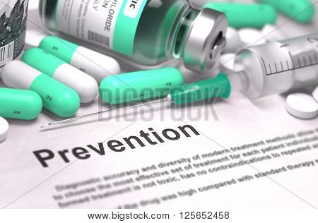 Prevention. Medical Concept with Light Green Pills, Injections and Syringe. Selective Focus. Blurred Background. 3D Render.
