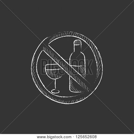 No alcohol sign. Drawn in chalk icon.