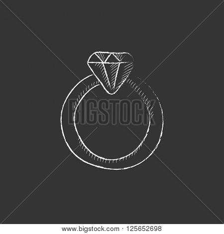 Diamond ring. Drawn in chalk icon.