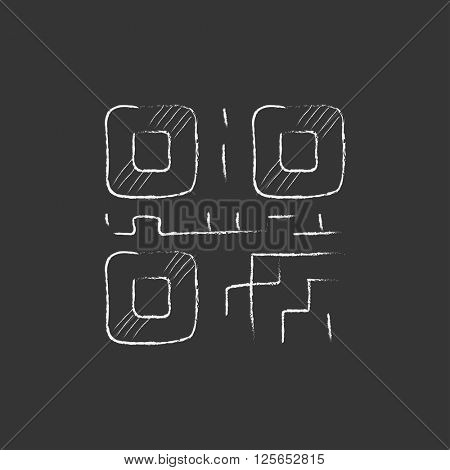 QR code. Drawn in chalk icon.