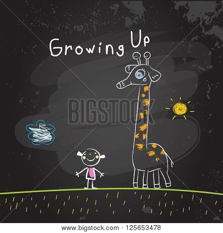Kids growing up conceptual vector illustration. Girl with giraffe, chalk on blackboard doodle style hand drawn drawing.