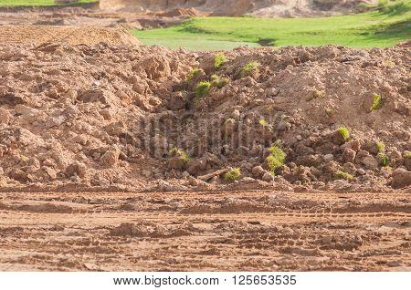 Land development preparing for golf course project