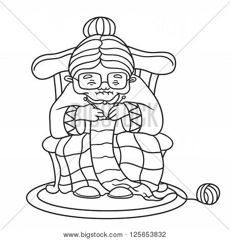 Grandmother knits. vector illustration on white background. coloring book