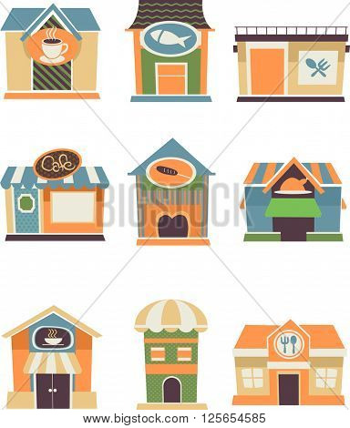 Flat Illustration Featuring Restaurant Facades