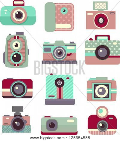 Flat Illustration Featuring Vintage Cameras with Patterned Prints