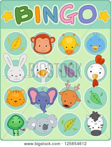 Illustration of a Bingo Game Card Decorated with Cute Animals