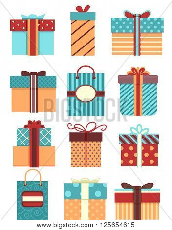 Flat Illustration Featuring Patterned Gift Boxes and Bags