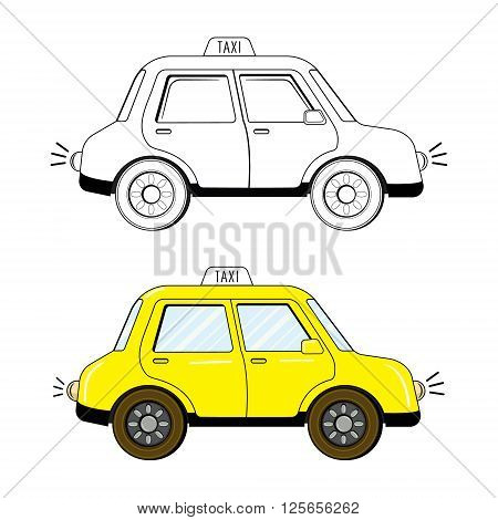 Black and white and colored variants of cute cartoon style taxi drawing isolated on white background. Vector illustration