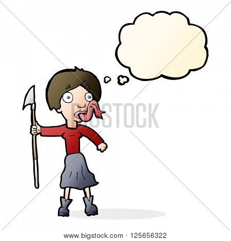 cartoon woman with spear sticking out tongue with thought bubble