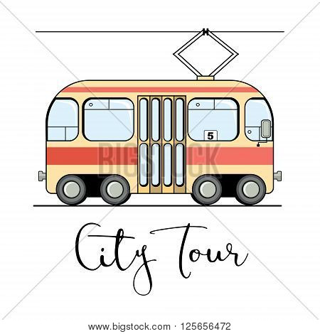 Cute cartoon style drawing of a tram isolated on white background. Streetcar vector illustration