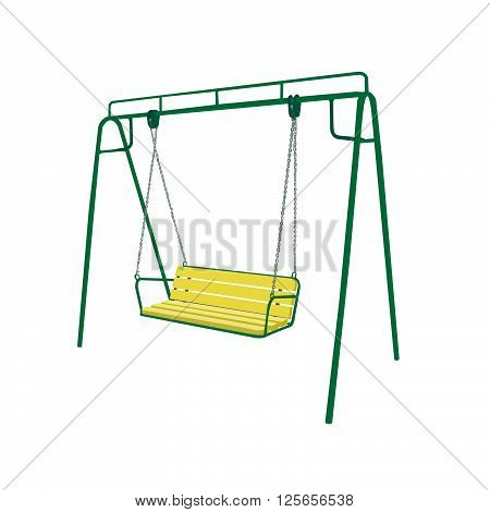 Baby green swing illustration isolated on white background