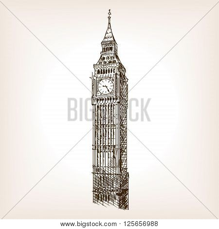 Big Ben tower sketch style vector illustration. Old engraving imitation. Big Ben landmark hand drawn sketch imitation