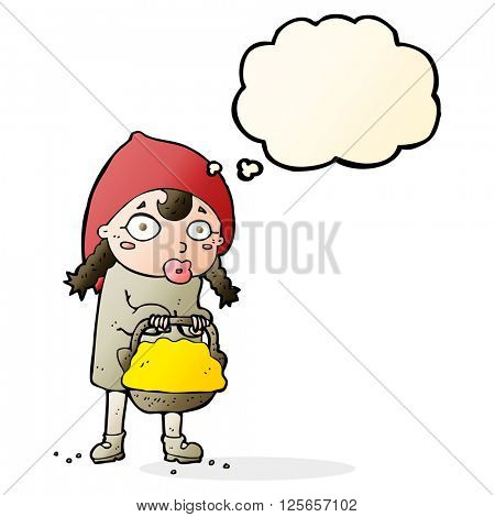 little red riding hood cartoon with thought bubble