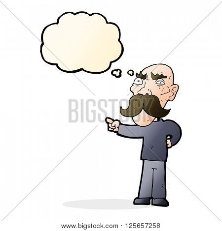 cartoon annoyed old man pointing with thought bubble
