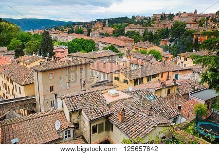 14 april 2014-perugia-italy-Top view of the city of Perugia Umbria Italy