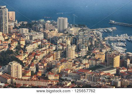 Aerial View of Port Hercule Monte-Carlo and the Mediterranean Sea in Monaco