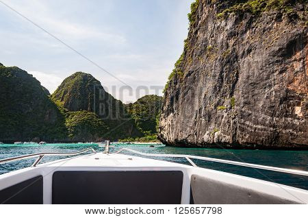 View of Maya Bay from the boat in a low season Phi Phi island Thailand