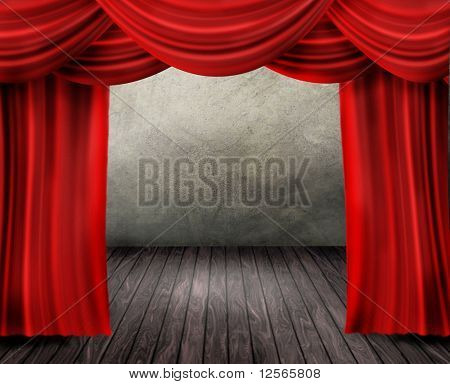 Theater Stage and Red Curtain