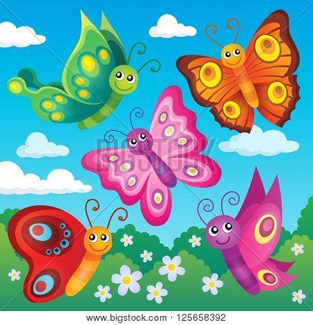 Happy butterflies theme image 1 - eps10 vector illustration.
