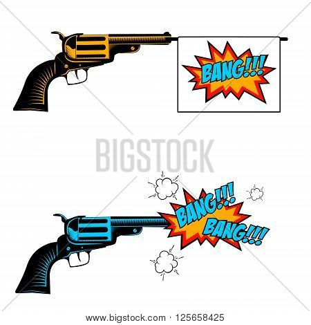 Bang bang. Toy revolver with flag. Pop art style revolver. Revolver icon. Handgun in comic style.