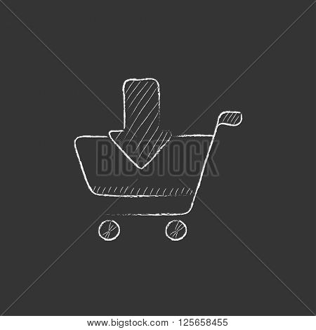 Online shopping cart. Drawn in chalk icon.
