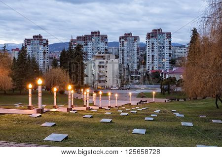 Sochi, Russia - February 7, 2016: Zavokzalnyi memorial complex - a monument to the soldiers of the Sochi residents who died fighting in the great Patriotic war of 1941-1945
