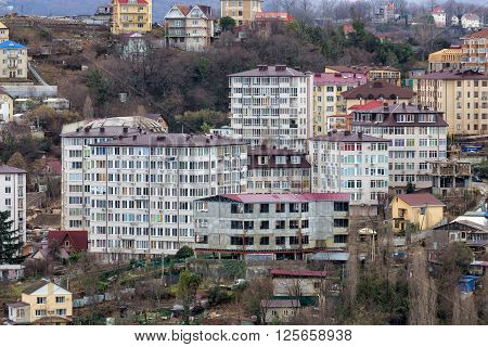 Sochi, Russia - February 8, 2016: New residential multi-storey houses in Sochi.