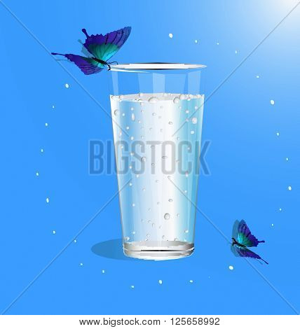 glass of drinking water. Natural drinking water. Sparkling water. Water drops. Water vector