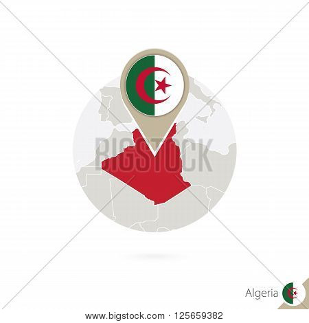 Algeria Map And Flag In Circle. Map Of Algeria, Algeria Flag Pin. Map Of Algeria In The Style Of The