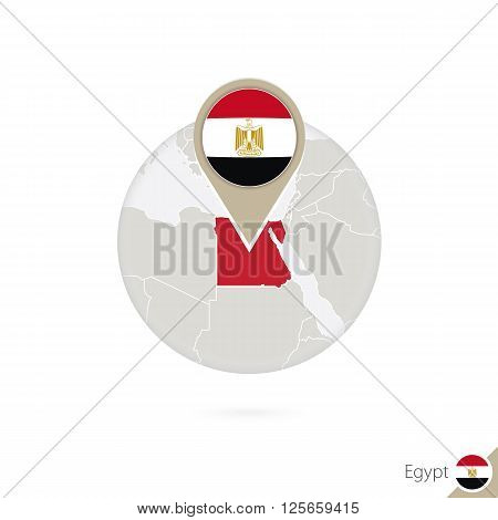 Egypt Map And Flag In Circle. Map Of Egypt, Egypt Flag Pin. Map Of Egypt In The Style Of The Globe.