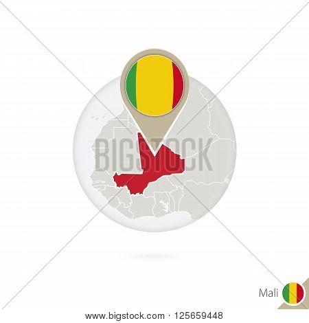 Mali Map And Flag In Circle. Map Of Mali, Mali Flag Pin. Map Of Mali In The Style Of The Globe.